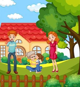 Cena com pessoas em família relaxando em casa