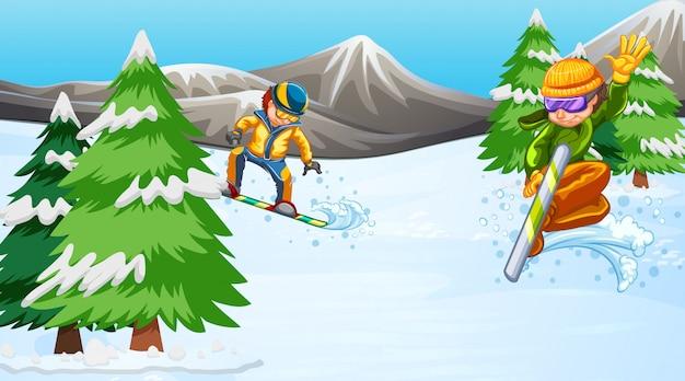 Cena com pessoas fazendo snowboard no campo
