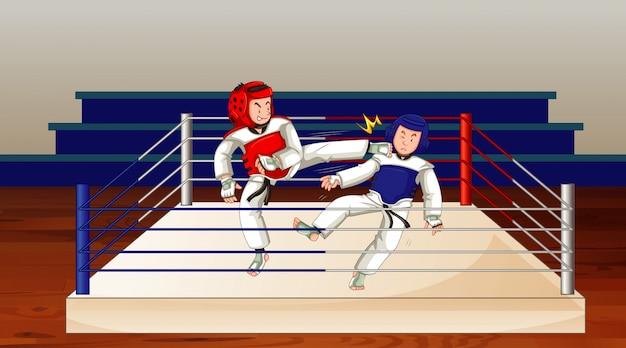 Cena com pessoas jogando taekwondo no ringue