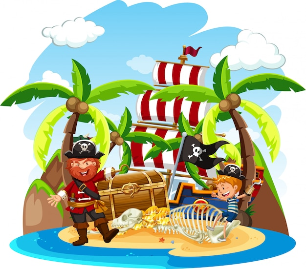 Cena com pirata e garoto feliz na ilha do tesouro