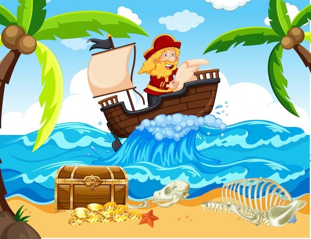Cena com pirata navegando no mar