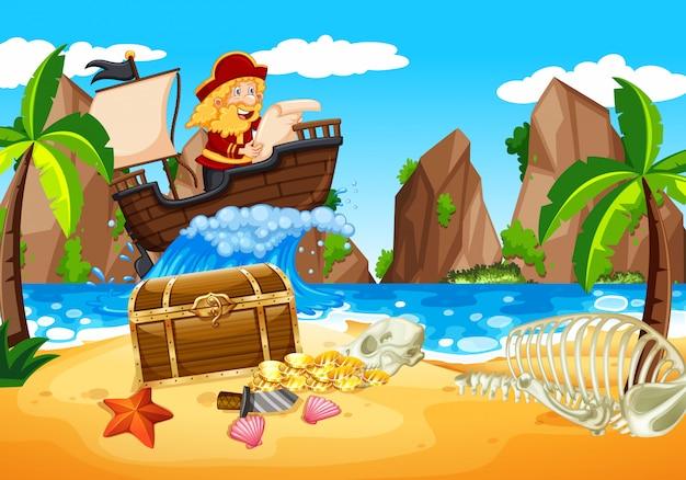 Cena com pirata sailaing no oceano