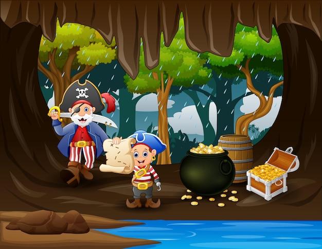 Cena com piratas e moedas de ouro no baú