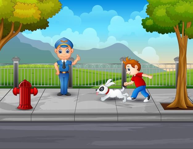 Cena com policial e menino na beira da estrada