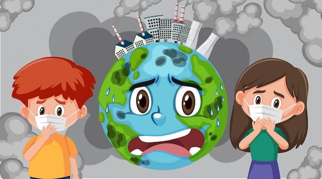 Cena com poluição na terra e crianças doentes usando máscara