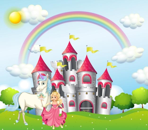 Cena com princesa e unicórnio no castelo rosa