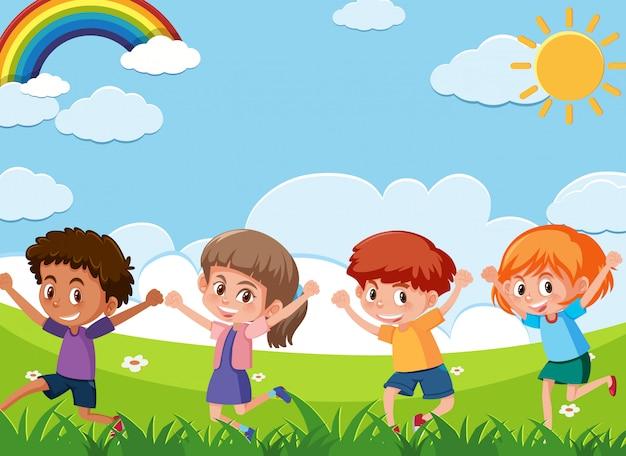 Cena com quatro crianças felizes brincando no campo