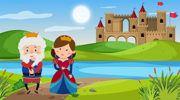 Cena com rei e rainha na terra de conto de fadas