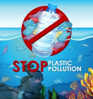 Cena com sacos de plástico no oceano