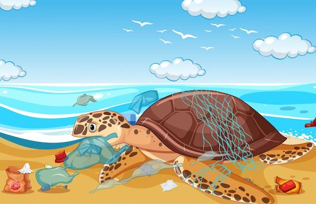 Cena com tartarugas marinhas e sacos de plástico na praia
