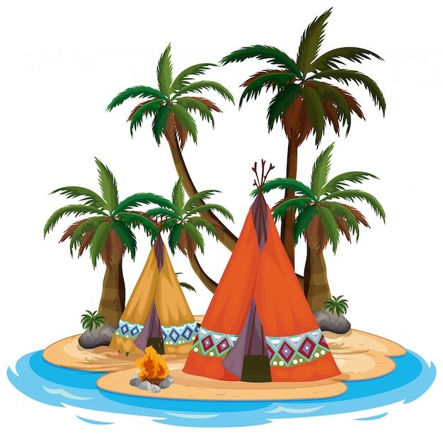 Cena com tenda e fogueira na ilha no fundo branco