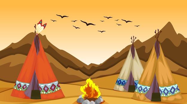 Cena com tenda e fogueira