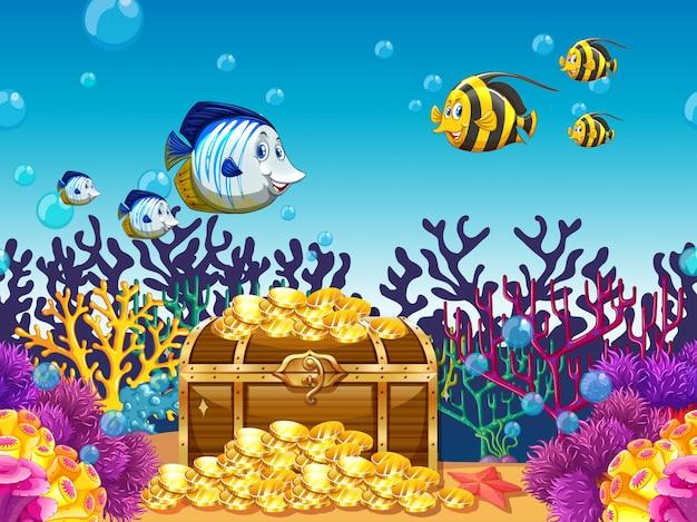 Cena com tesouro e peixes debaixo d'água