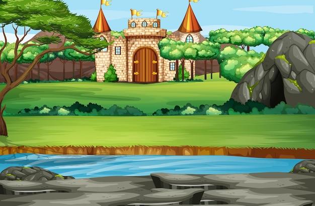Cena com torres de castelo na floresta