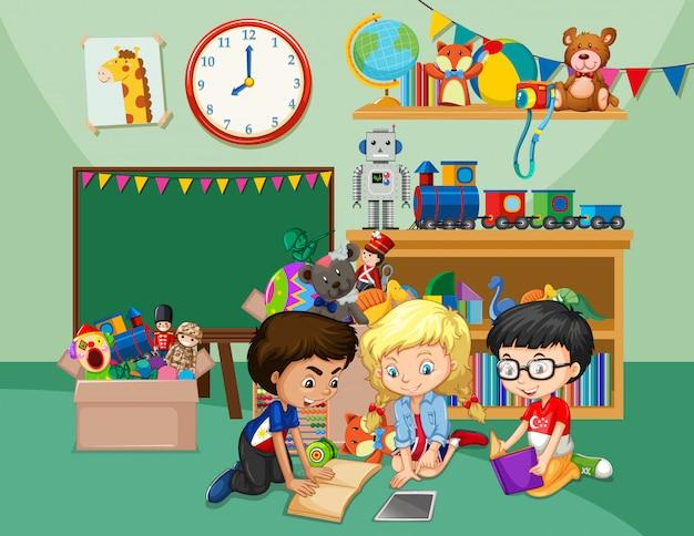 Cena com três crianças lendo livros na sala de aula