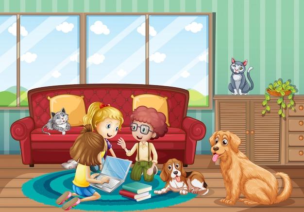 Cena com três crianças trabalhando em casa
