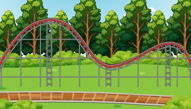 Cena com trilha de montanha-russa vazia na ilustração do parque