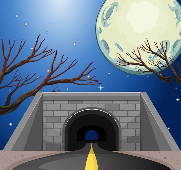 Cena, com, túnel, à noite