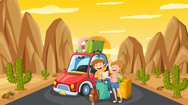 Cena com turista dirigindo na estrada ao pôr do sol
