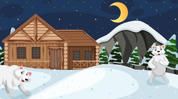 Cena com ursos polares e casa de madeira no pólo norte
