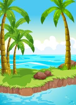 Cena, coqueiros, ilha