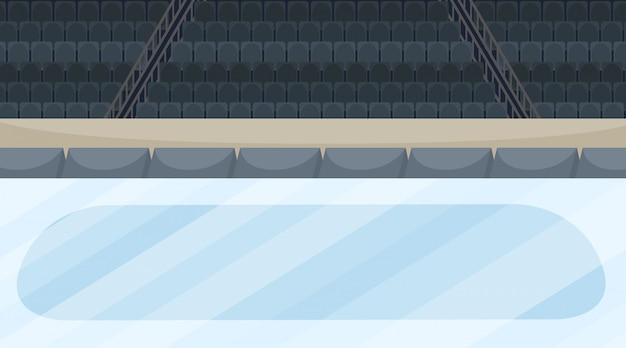Cena da arena de gelo com estádio