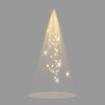 Cena da cerimônia de premiação. pedestal. floodlight. ilustração. pódio à luz das estrelas.