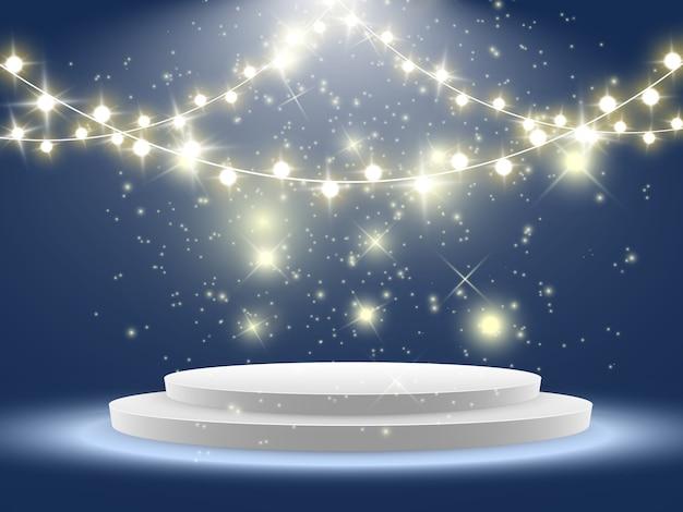 Cena da cerimônia de premiação. pedestal. floodlight. . pódio à luz das estrelas