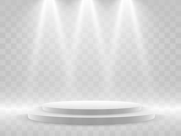 Cena da cerimônia de premiação. pedestal. floodlight. pódio à luz das estrelas.