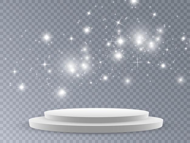Cena da cerimônia de premiação. pódio à luz das estrelas.