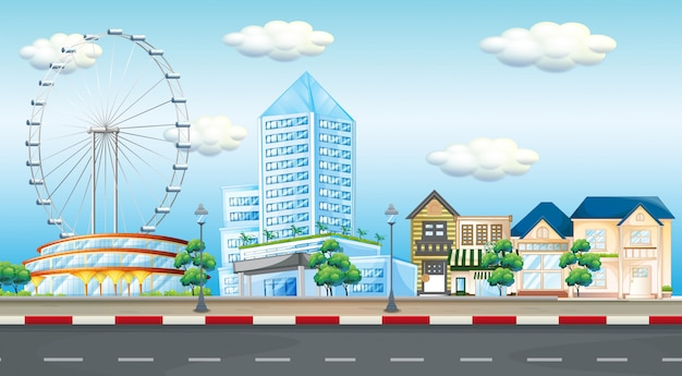 Cena da cidade com a roda gigante e edifícios