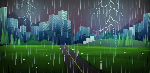 Cena da cidade com chuva e trovões