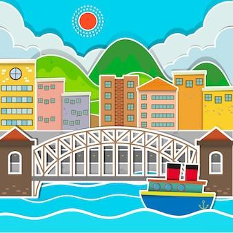 Cena da cidade com ponte e rio