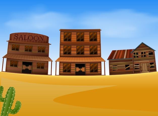 Cena da cidade ocidental com edifício de madeira