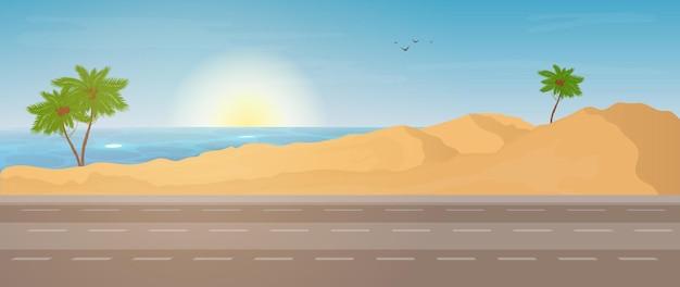 Cena da estrada para o mar.