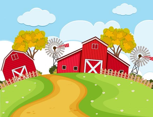 Cena da fazenda com celeiros vermelhos e turbinas