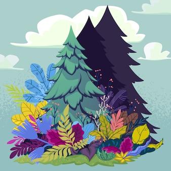 Cena da floresta com abeto e plantas ao redor. ilustração vetorial no estilo cartoon.
