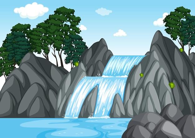 Cena da floresta com cachoeira
