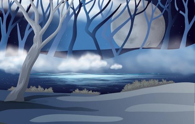 Cena da floresta com fullmoon e névoa