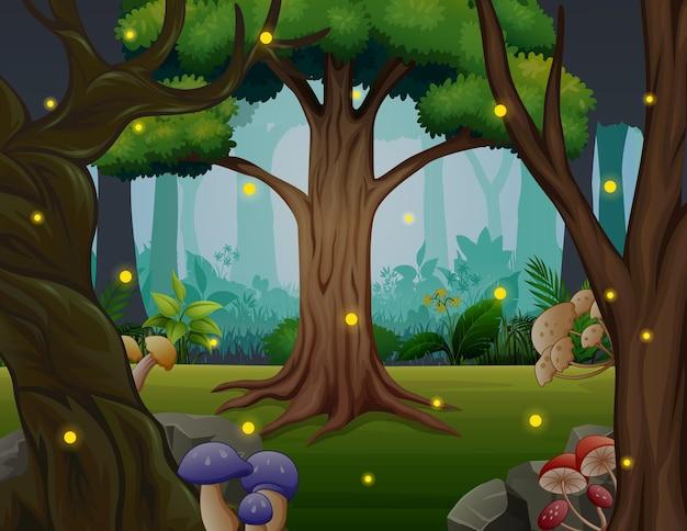Cena da floresta com vaga-lumes voando
