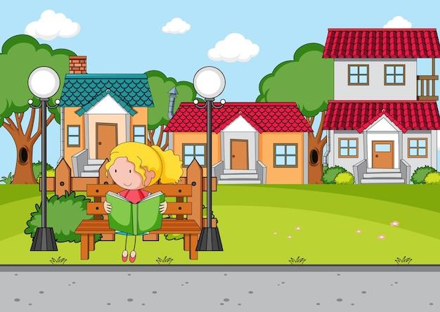 Cena da frente da casa com uma garota lendo um livro sentada no banco