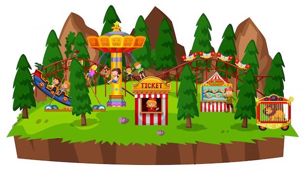 Cena da ilha com muitas crianças brincando em passeios de circo