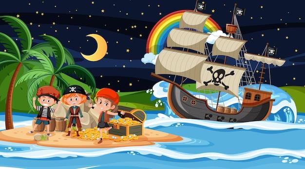 Cena da ilha do tesouro à noite com crianças piratas no navio