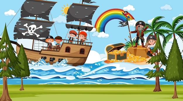 Cena da ilha do tesouro durante o dia com crianças piratas