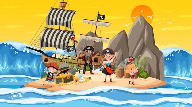 Cena da ilha do tesouro na hora do pôr do sol com crianças piratas