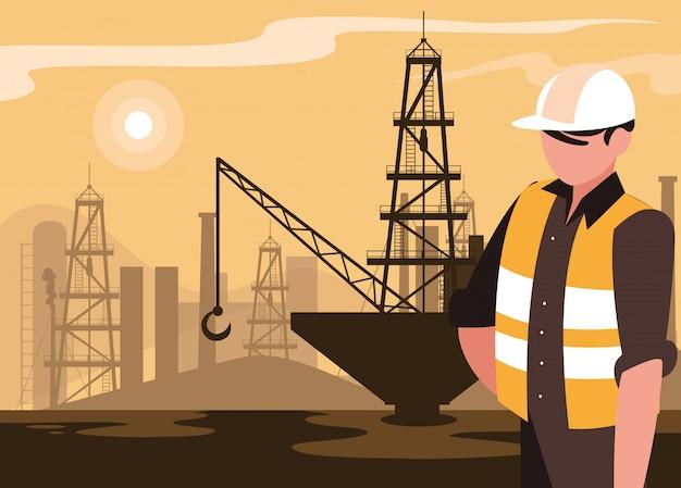 Cena da indústria de petróleo com plataforma marinha e trabalhador