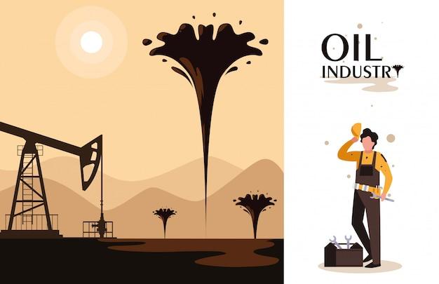 Cena da indústria de petróleo com torre e trabalhador