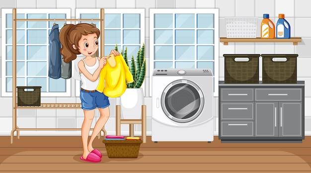 Cena da lavanderia com uma mulher secando suas roupas