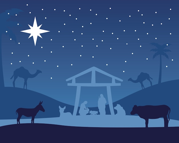 Cena da manjedoura de feliz natal feliz com a sagrada família na ilustração da noite do estábulo e animais