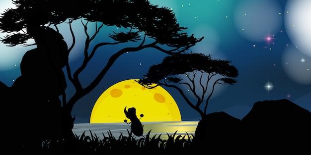 Cena da natureza à noite